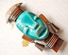 African Tribe Brooch Vintage Head Copper by RenaissanceFair