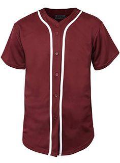 6e5dc3c38 Hat and Beyond Mens Baseball Button Down Jersey Hipster Hip Hop T Shirts  (Medium