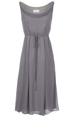 Almost Famous Silver Grey Silk Dress -  Soft cowl neck dress with waist detail in soft 100% silk chiffon #myhigh