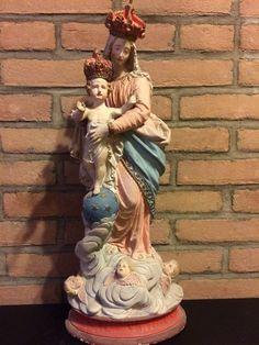 Online veilinghuis Catawiki: Gipswerk - Mariabeeld kindje jezus - Notre Dame des Victoires - kloosterstuk 1862 getekend