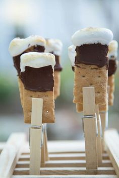S'mores served using clothing pins I Absolute Celebrations Catering I #desserts #weddingfood #food