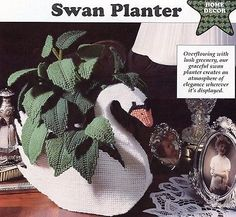 Swan-Planter-Green-Leaves-Plastic-Canvas-Pattern-30-Days-To-Shop-Pay