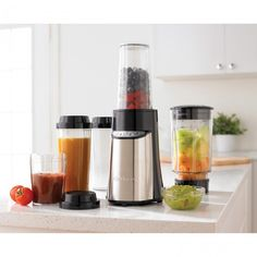 Cuisinart's Compact Portable Blending/Chopping System features one touch operation that's hands free for continuous use. With a 350 watt motor and three speeds to choose from you can easily mix sauces, puree soups and crush ice for frozen drinks. The four convenient travel cups are BPA free and ideal for breakfast on the go.