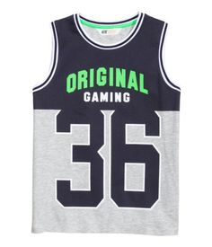 Boys Tops & T-shirts - A wide variety of models Printed Tank Tops, Printed Shirts, Baby Boy Outfits, Kids Outfits, Latest T Shirt, Kids Fashion Boy, Mens Activewear, Kids Sports, Summer Kids