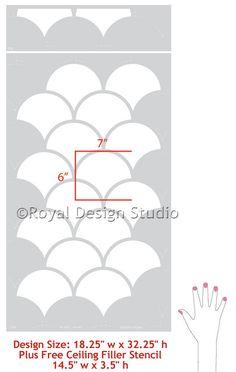 Large Scallops Wall Stencil   Royal Design Studio