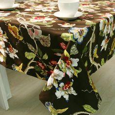 Simanfei 2017 Luxury Black Floral Flower Leaf Print Nappe Tablecloth Dustproof Palace Vintage Table Cloth Toalha De Mesa