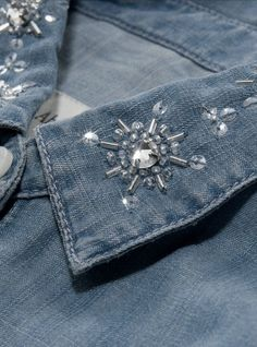 Sequin Snowflakes embellished onto the collar