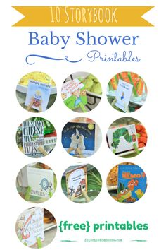 Storybook Baby Shower Ideas and FREE printables. #party #babyshower