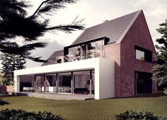 ki-house, tamizo architects Inspiration - render and brick.