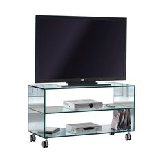 #Mueble para #televisión de #cristal templado con dos baldas de cristal templado #trasparente de 10 mm con ruedas