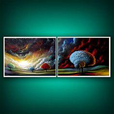 colorful lollipop tree star landscape cloud sunset 2 piece diptych print…