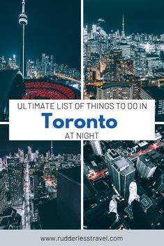 Top things to do in Toronto at night! Explore the stunning Canadian city of Toronto and enjoy all these amazing night time activities. Some free things to do in Toronto are included. #Toronto #Travel #Canada Time Activities, Toronto Activities, Alberta Canada, Free Things, Things To Do, Vancouver, Toronto Travel, Canadian Travel, Travel Guides