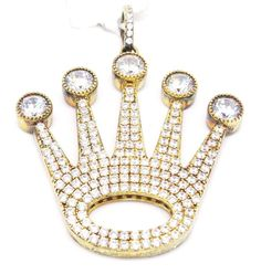 Bold Yagi 925 Gold Tone Sterling Silver Micro Pave Crown Life C Z Pendant  #LeonDiamond #Pendant