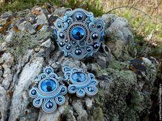 """Купить браслет и серьги сутажные""""Слеза Афины"""" - серый, бирюзовый цвет, сутажный браслет, сутажные серьги"""