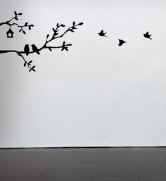 For kitchen backsplash? Branches with Birds Whimsical Modern Contemporary Vinyl Decal Wall Art Black Home Decor Entryway Hanging. $15.00, via Etsy.
