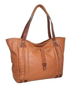 Another great find on #zulily! Cognac Jara's Manhattan Leather Tote #zulilyfinds