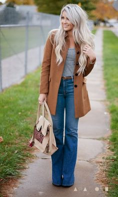 Gray t, camel coat  flare jeans- love the flare!