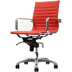 @Overstock - Retro and modern, the Malibu works in any and every office space. This contemporary chair will brighten any room and features executive styling that will be ideal in modern, open spaces.  http://www.overstock.com/Home-Garden/Malibu-Mid-back-Red-Vinyl-Office-Chair/6677315/product.html?CID=214117 $199.99