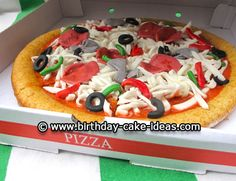I made the pizza cake for a 7 year-old birthday party. It was really fun to make, and kids go crazy! First I made my usual cake batter, Pizza Birthday Cake, Pizza Cake, Fondant Cakes, Cupcake Cakes, Cupcakes, Birthday Cake Pictures, Birthday Ideas, Fathers Day Cake, Crazy Cakes