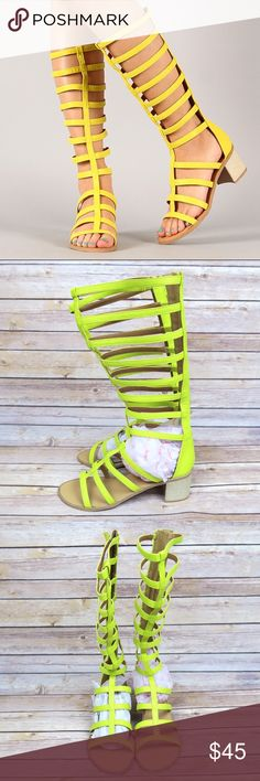 Neon yellow knee high gladiator sandals Brand: Qupid Size: 8 New Color: Neon Yellow   Open toe Strappy  Chunky heel Gladiator  Knee high Back zipper Heel height: about 2.25in Shaft length: 14.5in (including heel) Toe opening circumference: about 12in Qupid Shoes Sandals