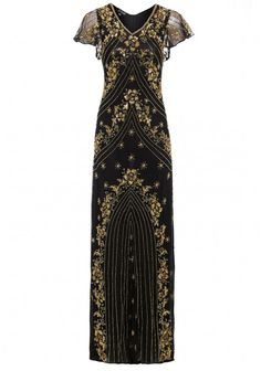 Jywal Twinkle Beaded Long Gatsby Dress in Black Gold