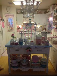 Just added more blue to my pink and white kitchen