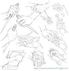#SAI资源库# 动漫多角度的手部动态! 肢体的扭转角度是绘画的一大难点!收集一组多角度的手部动态给大家作参考,自己收藏,转需~(原作者:69xuxu69 )
