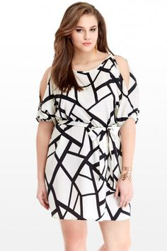 Geo Cutout Shoulder Dress