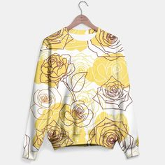 Yellow & White Roses Pattern Sweater, Live Heroes