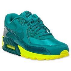 Women's Nike Air Max 90 Running Shoes | FinishLine.com | Mineral Teal/Volt/Dark Silver