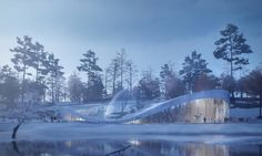 The building was envisioned to be built mainly of concrete and is embedded into the landscape to look like a natural extension of the earth. Schönbrunn Zoo, Green Roofs, Amazing Architecture, Vienna, Proposal, Concrete, Aquarium, Earth, Landscape