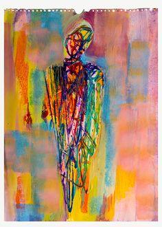 "tecnica mista su carta .titolo "" figura quasi umana"" cm 35x50"