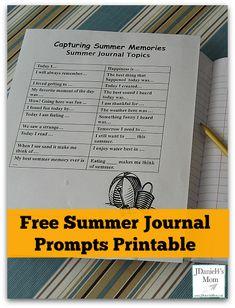 Kids Write- Capturing Summer Memories- Free Summer Journal Prompts Printable