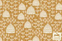 beehive, bee pattern, bee fabric, linocut, linocut art, linocut illustration, andrea lauren
