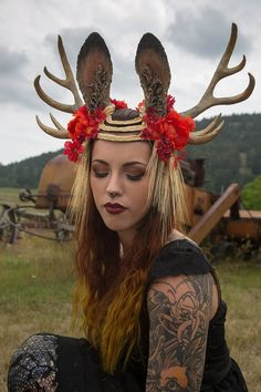 Memento Prairi© 10 Point Antler Jackalope Headdress by idolatre  *What is more important: my jackalope-ness or paying bills! This is just amazing!