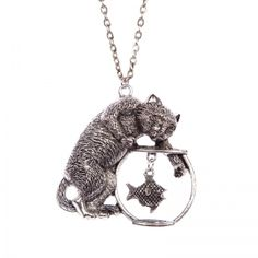 Playful cat and fish bowl necklace Pendant Necklace, Fish, Cats, Animals, Jewelry, Gatos, Animales, Jewlery, Kitty Cats
