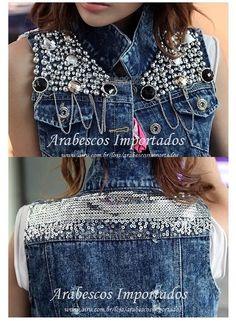 Colete Jeans com Pedrarias no Airu