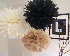 Black Tan Holiday Decoration New Year's Eve by PomVillage on Etsy