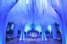 Falling Icy Blue Ceiling Decoration on Preston Bailey's Event Ideas