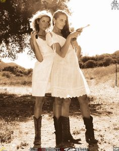 cute outfits  Cowgirl Models with Cowboy Boots and Guns