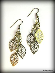 Falling Leaves Earrings in Antique Brass by byBrendaElaine on Etsy, $12.00