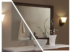 framing a plate glass bathroom mirror with mirrormate frames, bathroom ideas, home decor, wall decor, MirrorMate s Acadia frame added to a plate glass mirror Photo styled by blogger Emily A Clark