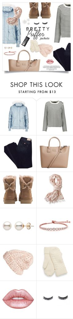 """""""Puffer Jacket (CONTEST ENTRY)"""" by jafashions ❤ liked on Polyvore featuring Topshop, Maje, True Religion, MANGO, UGG, Mark & Graham, CARAT* London, Free People and Lime Crime"""