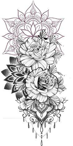 Tattoo Mandala Feminina, Mandala Tattoo Sleeve Women, Mandala Flower Tattoos, Sleeve Tattoos For Women, Sunflower Mandala Tattoo, Mandala Tattoos For Women, Mandala Rose, Girly Tattoos, Pretty Tattoos