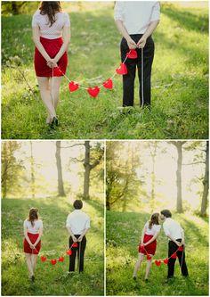 DIY heart banner, boston engagement session. Kristin Partin Photography