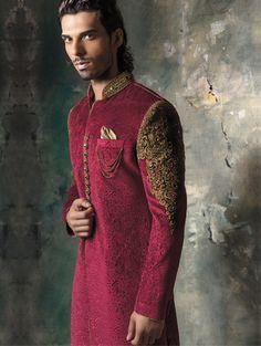 Velvet embossed Sherwani with antique gold work