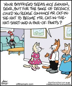 Today on Off the Mark - Comics by Mark Parisi Cat Jokes, Animal Jokes, Funny Animals, Funny Cartoons, Funny Comics, Daily Cartoons, Funny Cat Pictures, Funny Images, Cat Comics