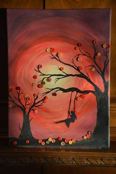 Autumn Radiance by KnitzKnackz on Etsy Diy Arts And Crafts, Creative Crafts, Creative Art, Button Tree Art, Button Art, Button Picture, Diy Buttons, Autumn Crafts, Home And Deco