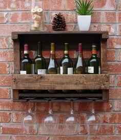 Rustic 6 Bottle Wall Mount Wine Rack w/ 4 Glass Slot Holder & Shelf -Dark Walnut