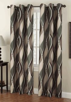 The Intersect Grommet Curtains has a horizontal multi color wave pattern with oil rubbed bronze grommets. Sliding Door Curtains, Double Curtains, Sliding Doors, Modern Curtains, Grommet Curtains, Panel Curtains, Window Coverings, Window Treatments, Dining Room Curtains